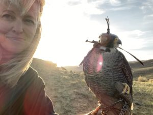 Leslie Goodyear and Falcon Genghis